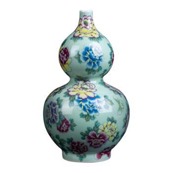金和汇景·皇家窑火·仿清乾隆粉彩万花豆青葫芦瓶