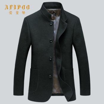 爱斐堡秋冬新款男士立领羊毛大衣
