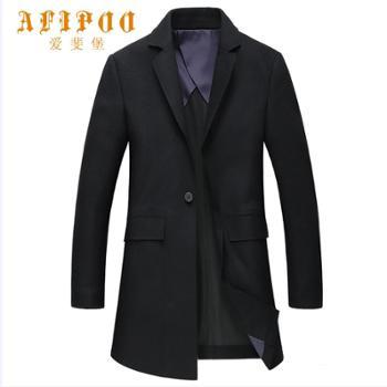 爱斐堡男士新款商务休闲黑色毛呢大衣283330811