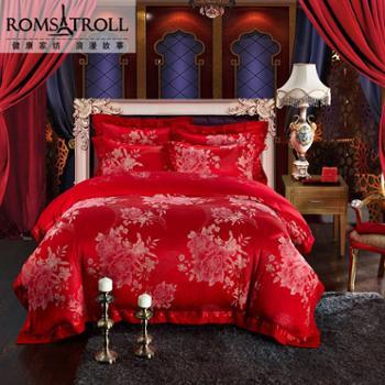 浪漫故事 柔丝棉提花绣花床上用品四件套 婚庆红色套组
