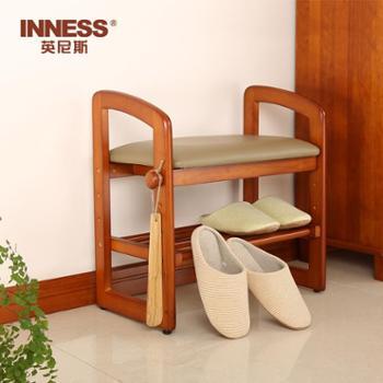 英尼斯 实木换鞋凳玄关创意凳子欧式多功能鞋架