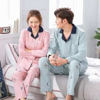 伊索儿新秀2018春季纯棉情侣睡衣翻领开衫家居服048