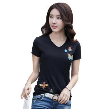 KEQI手工钉珠镶钻昆虫女士短袖V领T恤3212