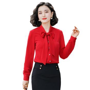 馨霓雅系带蝴蝶结职业装衬衫FH1997