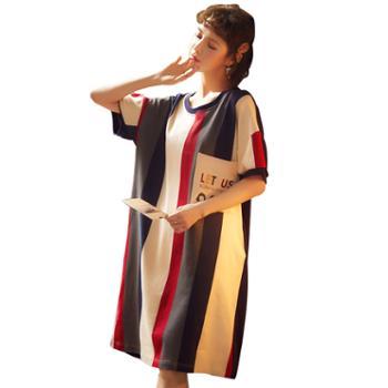 馨霓雅2020春夏女款韩版休闲可爱棉质睡裙系列