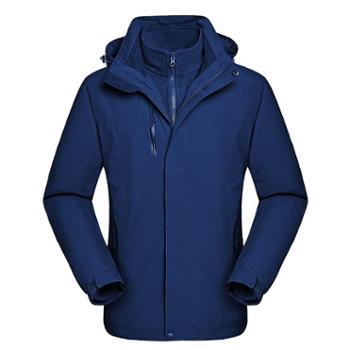 雷宾迪/LEIBINDI新款户外冲锋衣男三合一两件套防风防水登山服冲锋衣女17128