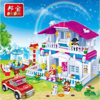 小颗粒】暑期邦宝益智拼插积木儿童玩具生日礼物快乐餐厅6103
