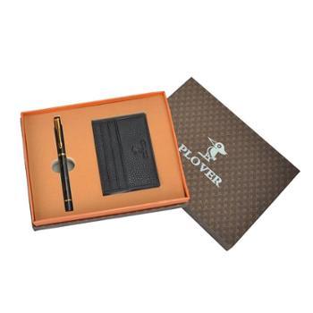 啄木鸟卡包签字笔两件套礼品装GD811032-2A黑色