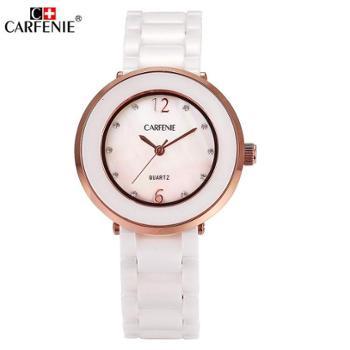卡芬妮新款石英表女式手表【2 款色可选】生活防水腕表陶瓷贝壳面女表CF8001