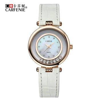 卡芬妮新款学生白领女手表石英真皮带防水镶钻复古腕表贝壳面CF6001L-1