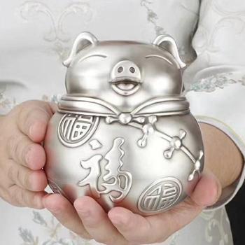 福恒金 精工财猫福猪银茶罐 手工银茶具足银茶具银茶桶【2款可选】