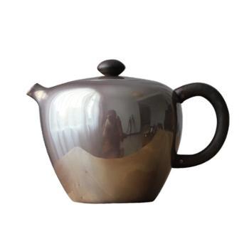 鹤川造物银壶纯银 烧水壶纯手工口打出家用巨轮珠泡茶小银壶