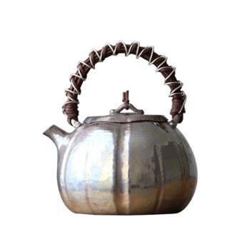 鹤川造物 银壶纯银烧水壶泡茶小银壶藤编南瓜泡茶银壶茶道