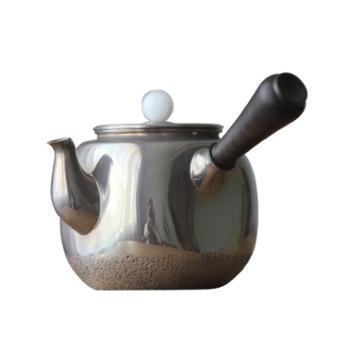鹤川造物 银壶纯银烧水壶四方侧柄壶日本泡茶小银壶急须