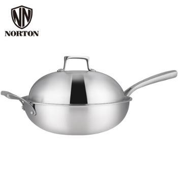 诺顿 菲尔逊煎炒锅304五层钢不锈钢无涂层不粘锅带盖家用炒菜锅燃气电磁炉适用 32cm