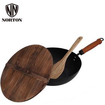 诺顿原味养生煎炒锅1JYW030家用木柄铁锅炒菜锅带木盖耐用易清洗明火耐高温送木铲