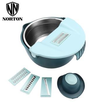 诺顿 智巧多功能组合盆果蔬刨丝器护手器切菜沥水不锈钢漏盆