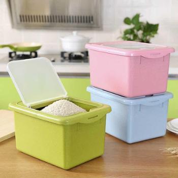 新款小麦秸秆厨房透明可视米箱翻盖防虫防潮塑料米桶收纳箱厨房收纳箱(颜色可下单时备注)