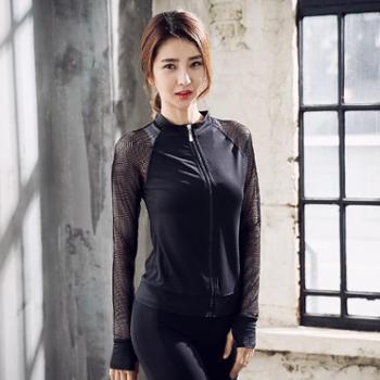 新款长袖瑜伽服女拉链外套立领运动健身服瑜伽跑步装女跑步服运动装单件外套C23