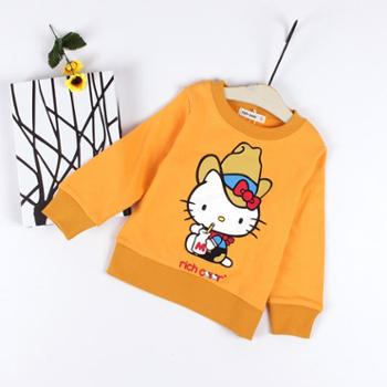 瑞彩2020春装新款女童装休闲套头毛圈卫衣儿童凯蒂猫图案卡通上衣