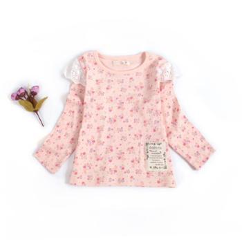新款女宝宝纯棉长袖碎花蝴蝶袖可爱长袖T恤 舒适透气 吸汗 上身效果好