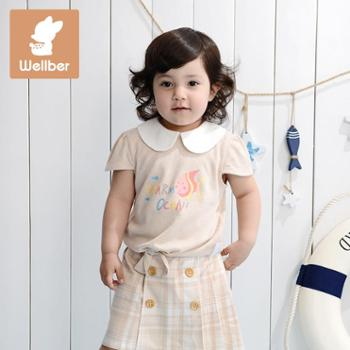 威尔贝鲁婴童装竹棉棉毛布娃娃领印花T恤夏季竹纤维女童印花短袖T恤宝宝新款上衣儿童衣服