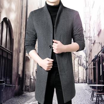 男韩版修身呢风衣潮青年羊毛冬装男士毛呢大衣中长款男装呢子外套