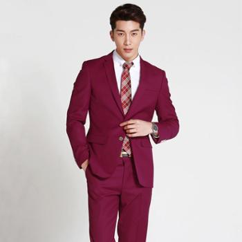 韩国时尚新款正装新郎男秋红色西服套装修身男士结婚礼服