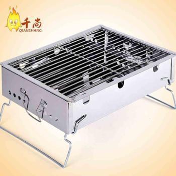 加厚不锈钢烧烤炉户外便携木炭烧烤架家用烤肉架野外烧烤箱子包邮