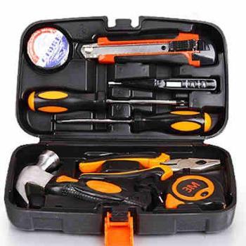 科麦斯五金工具箱9件套 家用手动工具工具组合套装 维修工具箱