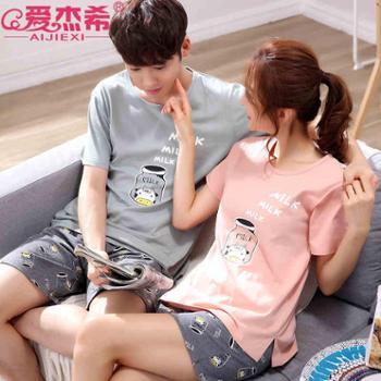 情侣睡衣女夏短袖纯棉夏季两件套装学生韩版可爱宽松男士夏天清新