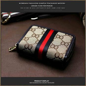 PUSUZE织带布艺小卡包男女卡套女式多卡位欧美拉链风琴零钱包包邮