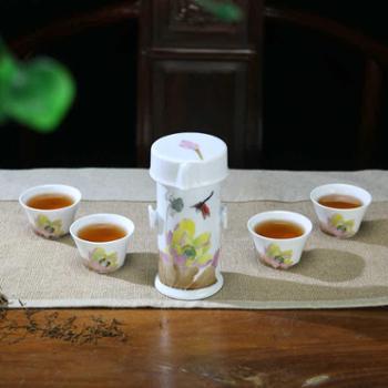 瓷善汇醴陵釉下五彩陶瓷器便携功夫茶具套装旅行茶具手绘荷花