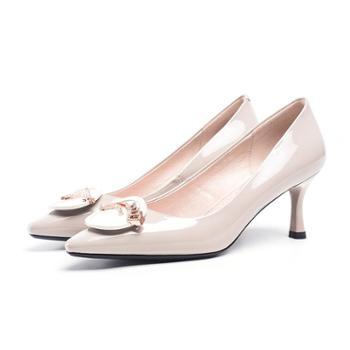 浓情漫宇漆皮尖头细跟高跟单鞋OL成熟风工作鞋女J014
