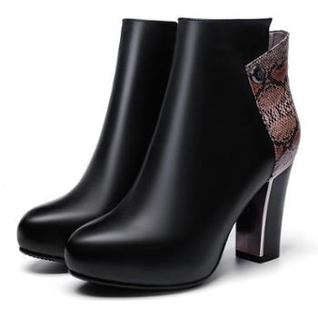 浓情漫宇女靴子欧美粗高跟短靴蛇纹拼接低筒骑士靴C195