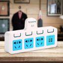 Gowone购旺 电源功率转换器 便携旅行插座 墙面电源拓展插排 三角插头小转大带两插 一转三分控 双USB ZU3
