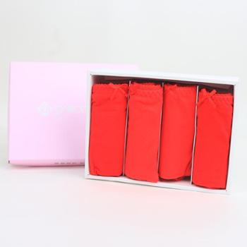 洁丽雅女士红色三角裤 女式福运本命年纯红色 全棉弹力内裤 4条装25019