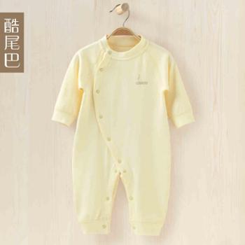 酷尾巴 新生儿连体衣纯棉婴儿衣服0-6个月婴幼儿打底内衣宝宝哈衣