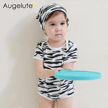 Augelute童装婴儿包屁衣男女宝宝爬服连身衣哈衣赠帽子41132