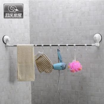 可伸缩强力吸盘毛巾架单杆毛巾杆卫生间毛巾挂免打孔浴室毛巾挂钩