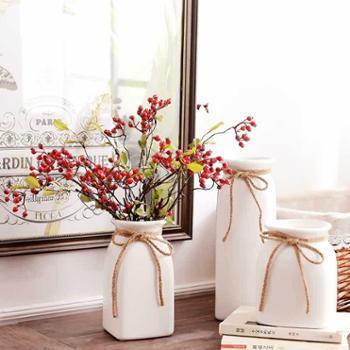 简约现代白色文艺小清新陶瓷花瓶家居摆件三件套带麻绳