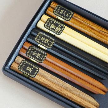 日式家用餐具天然原木筷子成人筷五色入八角木筷子盒装袋装厨房用具