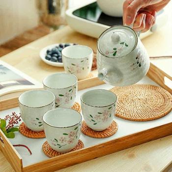 印象樱花系列日式和风手工釉下彩陶瓷碗一壶五杯茶具套装厨房用具