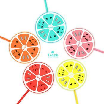 特洛克/trozk柠檬柠萌U站多口USB插排圆形接线板插座家用智能排插生活用品