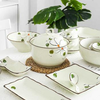 雨木西田洋甘菊釉下彩餐具陶瓷碗碟盘4人食