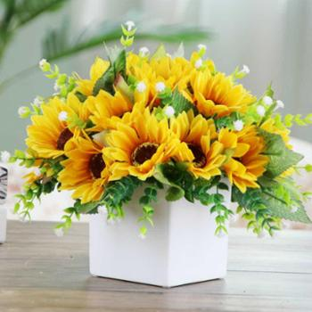 月光走廊白色陶瓷花盆瓶配向日葵仿真花套装饰品摆件