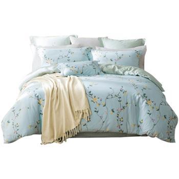 LOVO家纺 四件套全棉纯棉床品套件家纺被套床单清新花卉床品 大尺寸1.8床 醉花都
