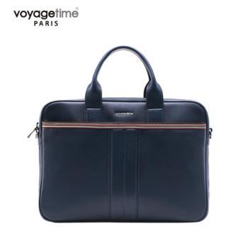 voyagetime温文系列专用蓝头层牛皮男士公文包VM4003-305