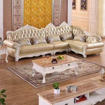 欧式转角沙发组合真皮沙发头层牛皮客厅实木皮艺沙发SF2108