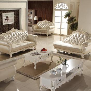 欧式真皮沙发组合实木雕花进口头层牛皮艺沙发2106